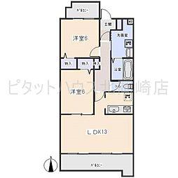 愛知県岡崎市大平町字建石の賃貸アパートの間取り