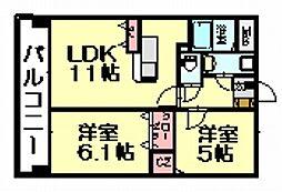 アイタス福岡[4階]の間取り