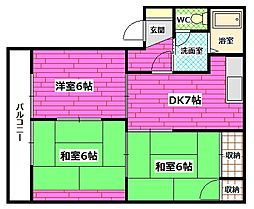 アブニール矢野東[1階]の間取り