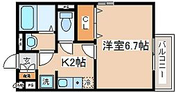 兵庫県神戸市東灘区西岡本5丁目の賃貸アパートの間取り