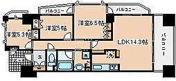 兵庫県神戸市中央区磯辺通1丁目の賃貸マンションの間取り
