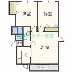 北海道札幌市東区北三十八条東2丁目の賃貸マンションの間取り