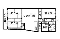 福岡県北九州市小倉北区須賀町の賃貸マンションの間取り
