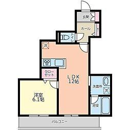 京王線 東府中駅 徒歩3分の賃貸マンション 2階1LDKの間取り