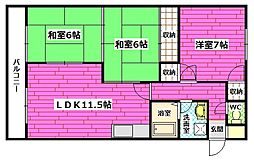 広島県広島市安芸区矢野西1丁目の賃貸マンションの間取り