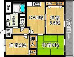 奈良県奈良市小川町の賃貸マンションの間取り
