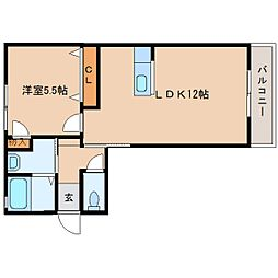 JR桜井線 櫟本駅 徒歩10分の賃貸アパート 2階1LDKの間取り