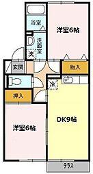 愛知県名古屋市緑区高根台の賃貸アパートの間取り