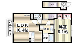 兵庫県神戸市灘区岩屋中町3丁目の賃貸アパートの間取り