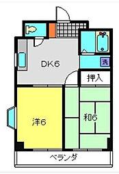 二俣川駅徒歩10分 クリエールヤマニ302号室[3階]の間取り