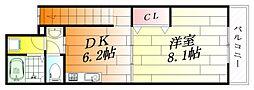 大阪府摂津市千里丘東5の賃貸アパートの間取り