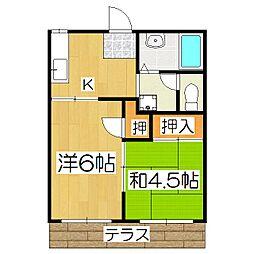 深草エステート2[1階]の間取り