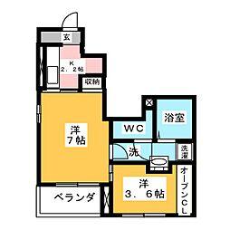 静岡県静岡市清水区大沢町の賃貸アパートの間取り