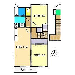 サンリットアベニューA棟[2階]の間取り