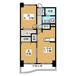フルール野色[4階]の間取り