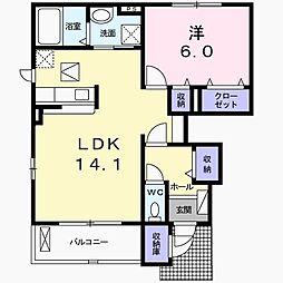 茨城県日立市西成沢町4丁目の賃貸アパートの間取り
