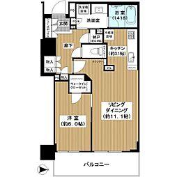 ブランズタワー・ウェリス心斎橋SOUTH 23階1LDKの間取り