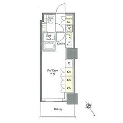 都営三田線 板橋区役所前駅 徒歩5分の賃貸マンション 18階ワンルームの間取り