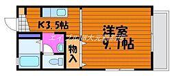岡山県岡山市北区岩田町の賃貸アパートの間取り
