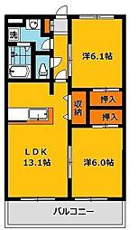 栃木県下野市花の木3丁目の賃貸アパートの間取り