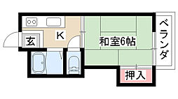 愛知県名古屋市天白区植田1丁目の賃貸アパートの間取り