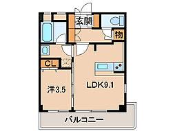 レスペート西庄VI 3階1LDKの間取り