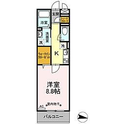 ハーウェル湘南台 3階1Kの間取り