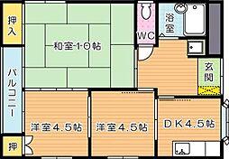 福岡県北九州市八幡西区上上津役4丁目の賃貸マンションの間取り