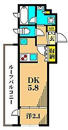 アジールコート東大井 5階1DKの間取り