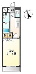 高松琴平電気鉄道琴平線 太田駅 徒歩30分の賃貸マンション 2階1Kの間取り
