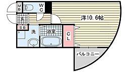 神戸市西神・山手線 伊川谷駅 徒歩2分の賃貸マンション 4階ワンルームの間取り