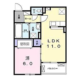 JR山陽本線 明石駅 徒歩20分の賃貸アパート 2階1LDKの間取り