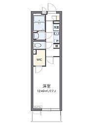 JR相模線 社家駅 徒歩3分の賃貸アパート 2階1Kの間取り