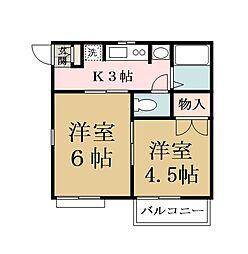 ウィング松原[2階]の間取り