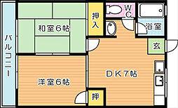 エクセランドタケノ A棟[2階]の間取り