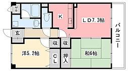 ソシオ西宮[3階]の間取り