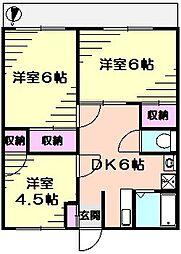 第二三ッ沢ハイツ[1階]の間取り