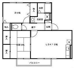 福岡県北九州市八幡西区八枝4丁目の賃貸アパートの間取り