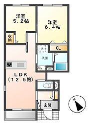 愛知県長久手市岩作東中の賃貸アパートの間取り