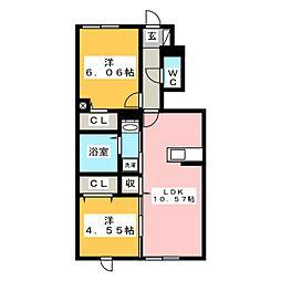 仮称)D-room東大竹 B棟 1階2LDKの間取り