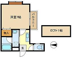 三愛コーポ袋山 201[2階]の間取り