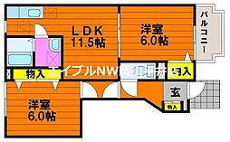 JR赤穂線 邑久駅 徒歩7分の賃貸アパート 1階2LDKの間取り