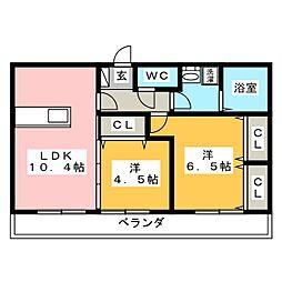 アスターエイト A棟[2階]の間取り