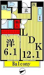 (仮)業平五丁目計画 6階1LDKの間取り