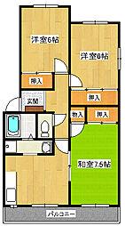 静岡県三島市徳倉2丁目の賃貸マンションの間取り