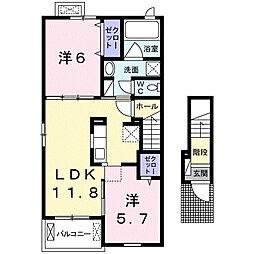 メゾンソレイユIII 2階2LDKの間取り
