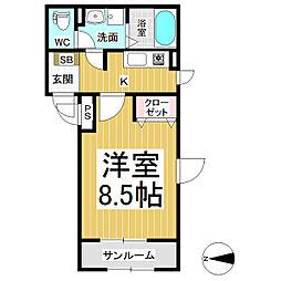 JR信越本線 長野駅 徒歩5分の賃貸マンション 3階1Kの間取り