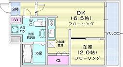 仙台市地下鉄東西線 川内駅 徒歩19分の賃貸マンション 2階1DKの間取り