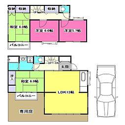 [一戸建] 東京都東村山市青葉町1丁目 の賃貸【/】の間取り