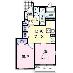 メゾンドリシュD[1階]の間取り